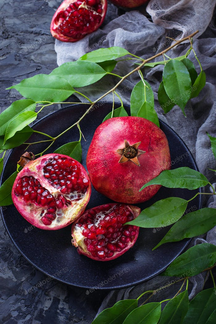 Ripe dissected pomegranates