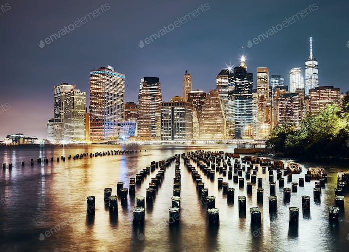 Manhattan skyline seen from Brooklyn at night, NYC.