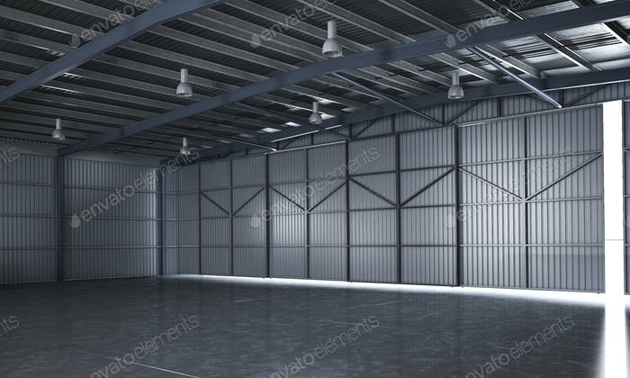 3d rendering beautiful empty metal storage warehouse