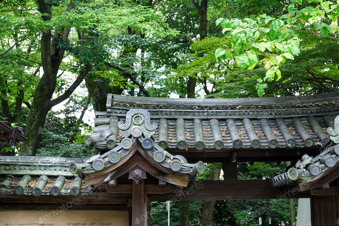 Japanese temple tile roof in park