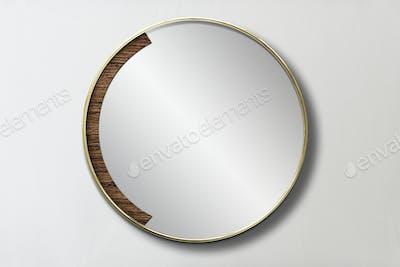 Wooden framed mirror psd