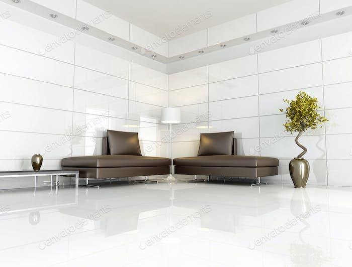 modernes braunes und weißes Wohnzimmer