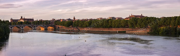 Panorama of Toulouse at sunset