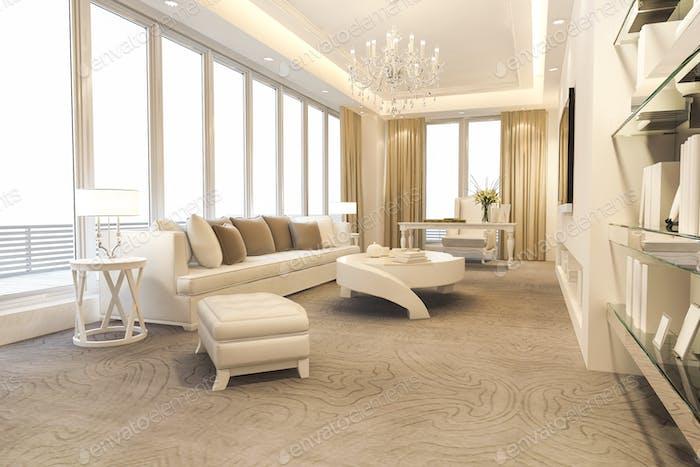 3D representación loft sala de estar de lujo y sala de trabajo con estantería