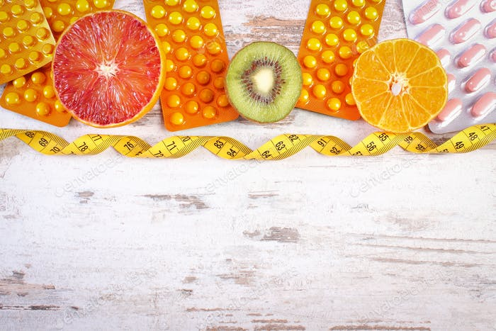 Natural fruits, centimeter and pills