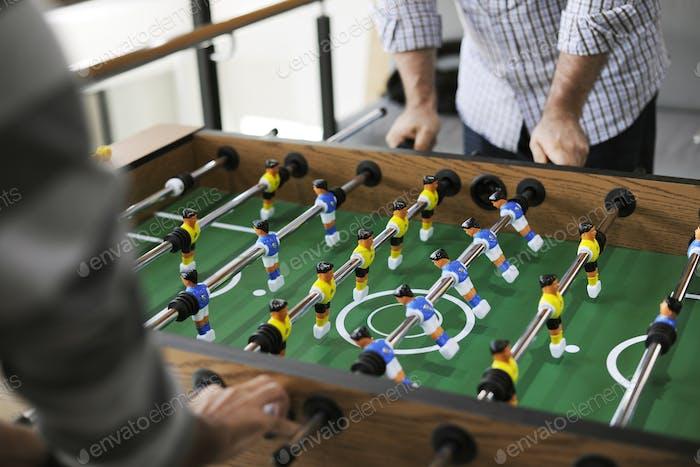 Menschen Spielen Genießen Tischfußball Tischfußball Spiel Erholung Le