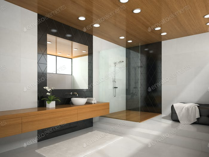 Interior of  bathroom with wooden ceiling 3D rendering 2