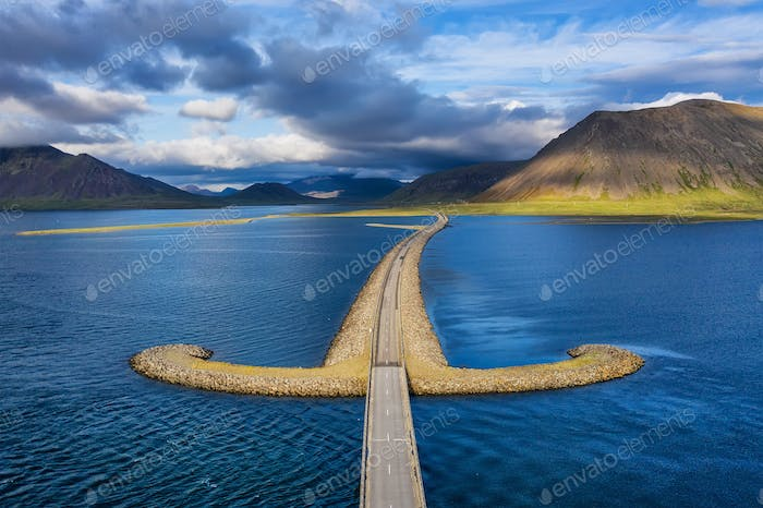 Iceland. Aerial view on the mountain and road. Famous place in Iceland.