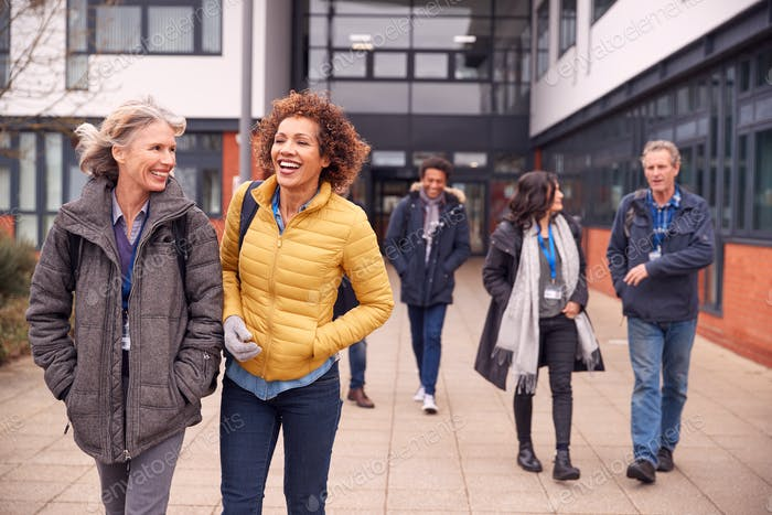 Group Of Smiling Mature Students Walking Outside College Building