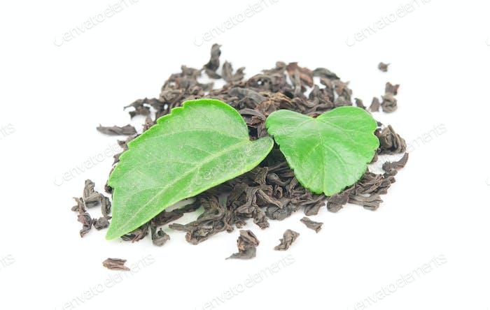 black tea with leaf