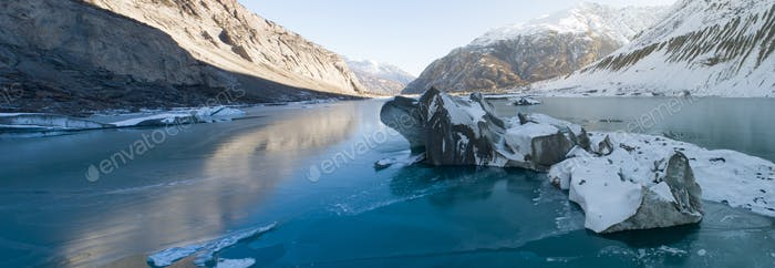 Aerial view of beautiful frozen glacier lagoon in Tibet,China