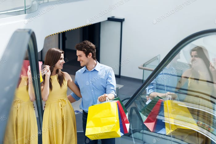 Couple in shopping mall