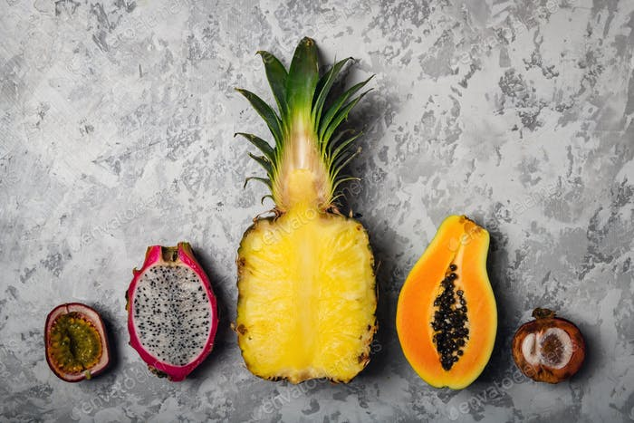 Exotic tropical fruits concept