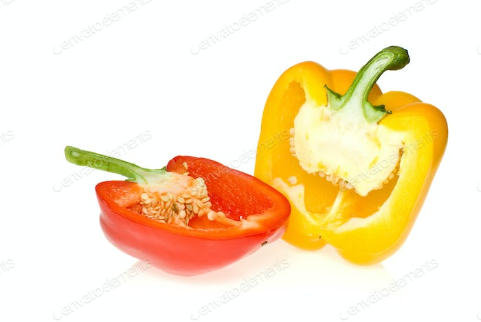Half of red and yellow sweet peppers