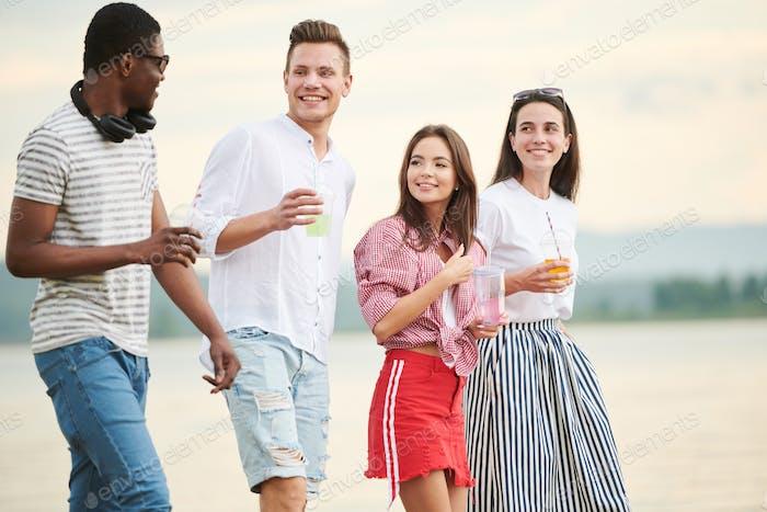 Happy teenagers outdoors