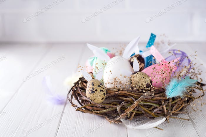 Colorful easter egg in the nest