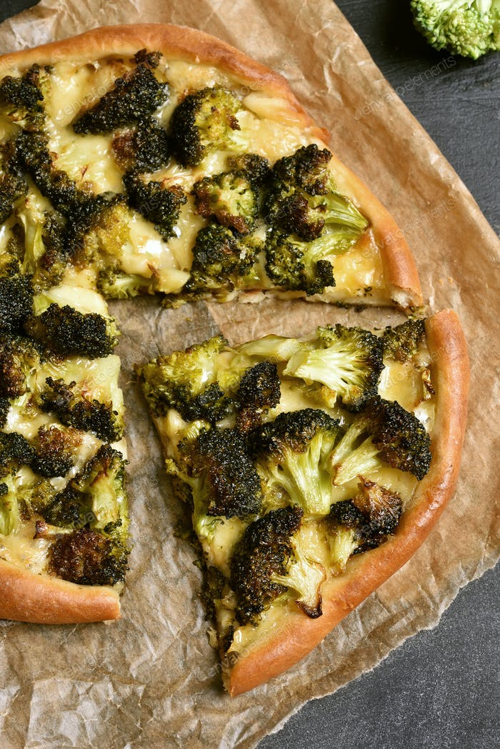 Pizza with broccoli, top view