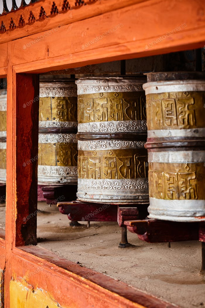 Buddhist prayer wheels in Hemis monstery. Ladakh, India