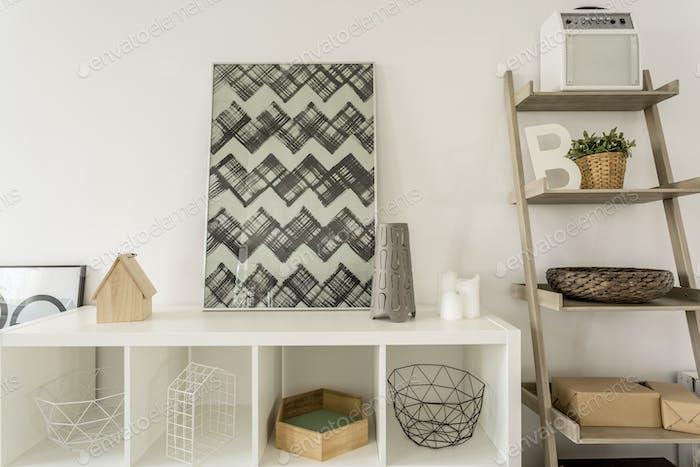 Decorations on white shelf