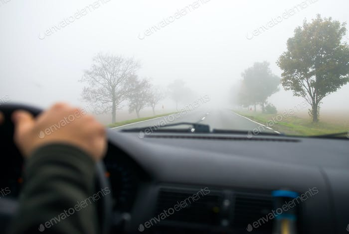 Car driving in the Fog Road