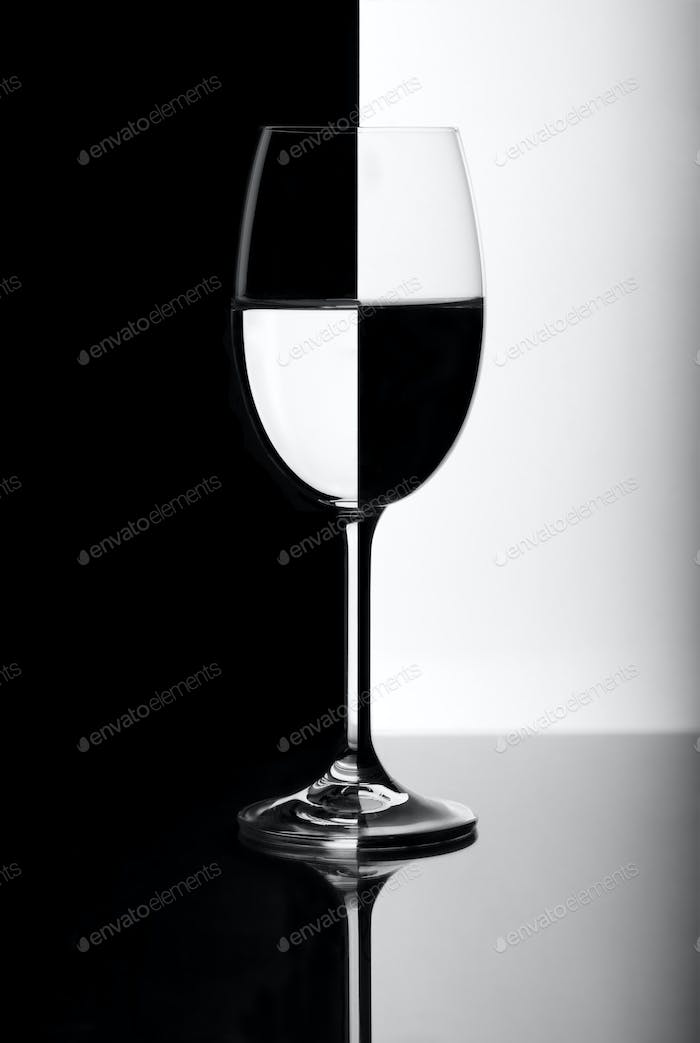 Black and white wine glass