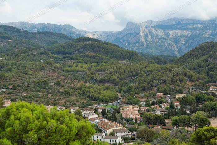 View of the village at the foot of the mountain