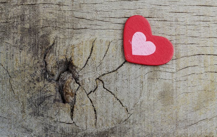 heart on wooden textured