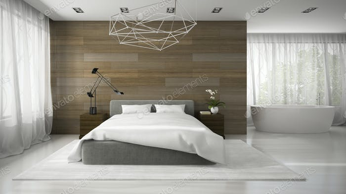 Interior of modern badroom with bathtub 3D rendering
