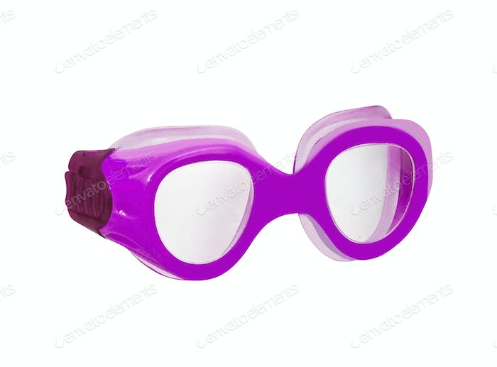 purple rubber frame goggle on white background