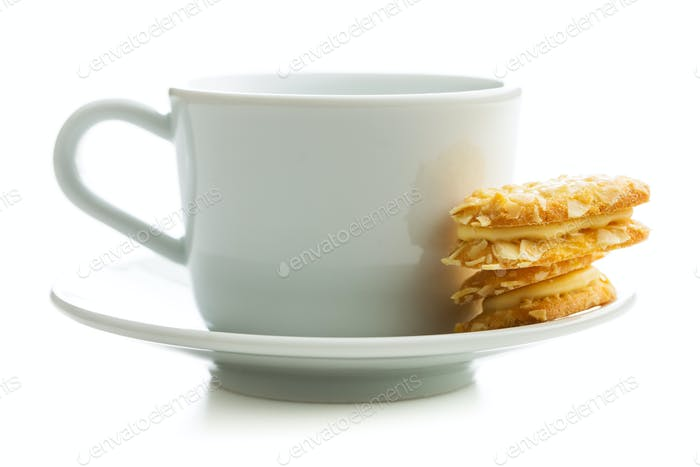Sweet almond cookies and cup of tea.