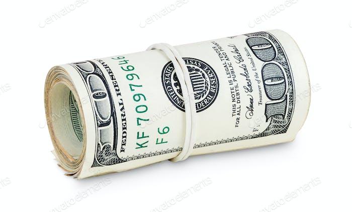 Gerollte Banknoten von 100 Dollar