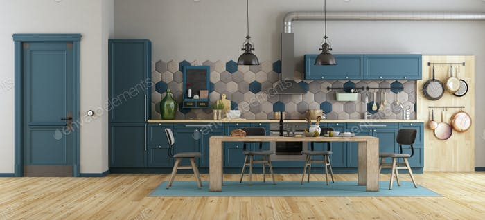 Retro blue kitchen