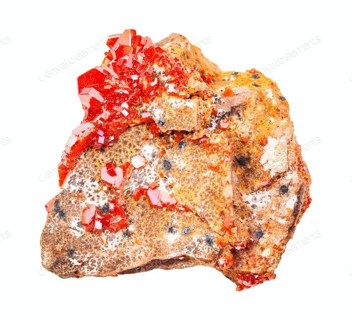 druse of Vanadinite crystals on rock isolated