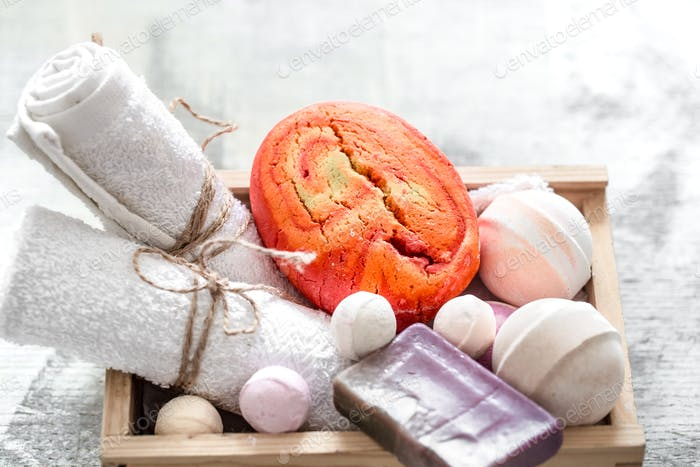 Beauty care products in wooden box.