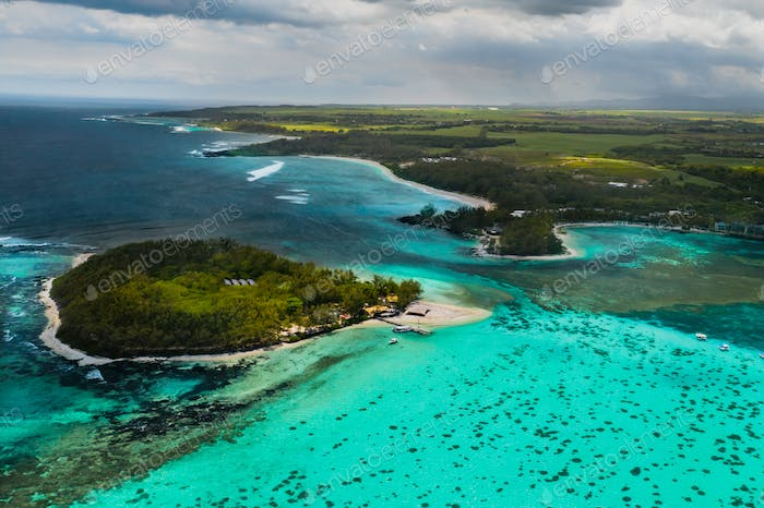 Aerial picture of the east coast of Mauritius Island.