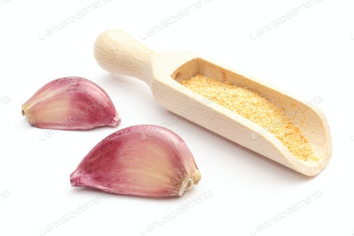 Garlic - fresh and loose on white background