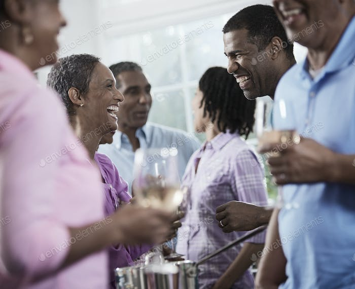 A group of African Americans of similar age, the baby boomer generation, having a party.