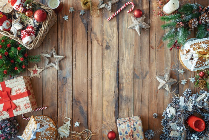 Christmas gift boxes on wooden desk