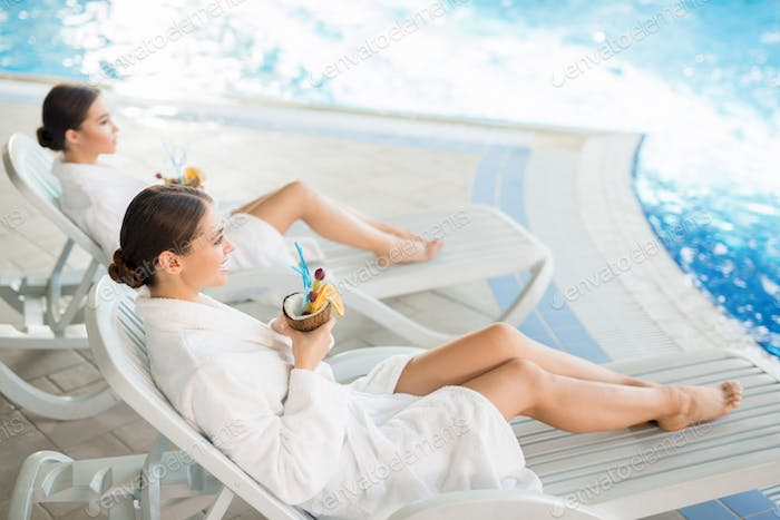 Rest by swimming-pool