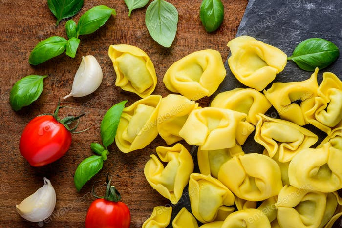 Yellow Tortellini Pasta with Cooking Ingredients
