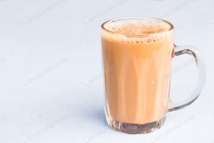 Tea with milk in a mug or popularly known as Teh Tarik in Malaysia
