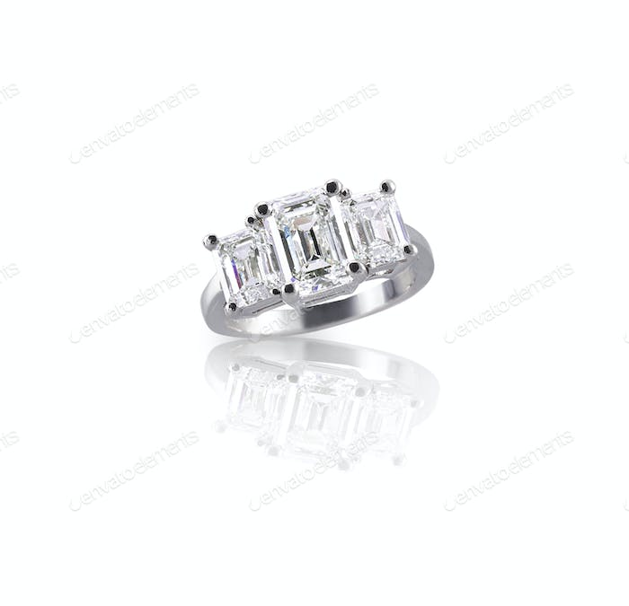 Emerald cut three stone trinity diamond engagement wedding ring