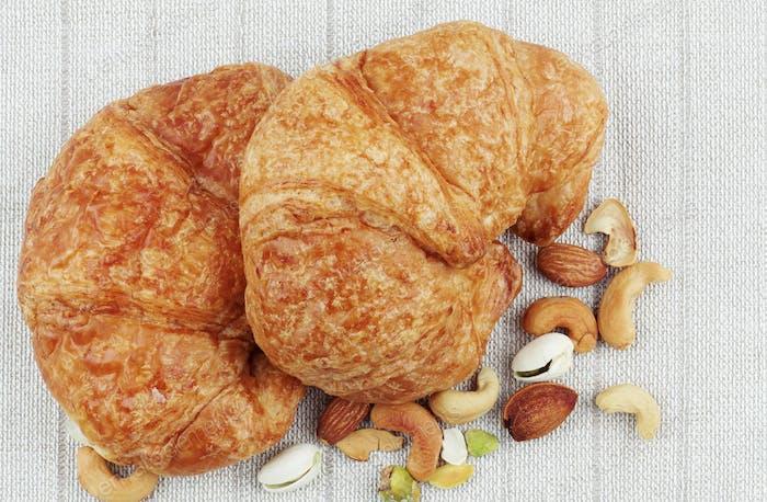 Croissants on tablecloths