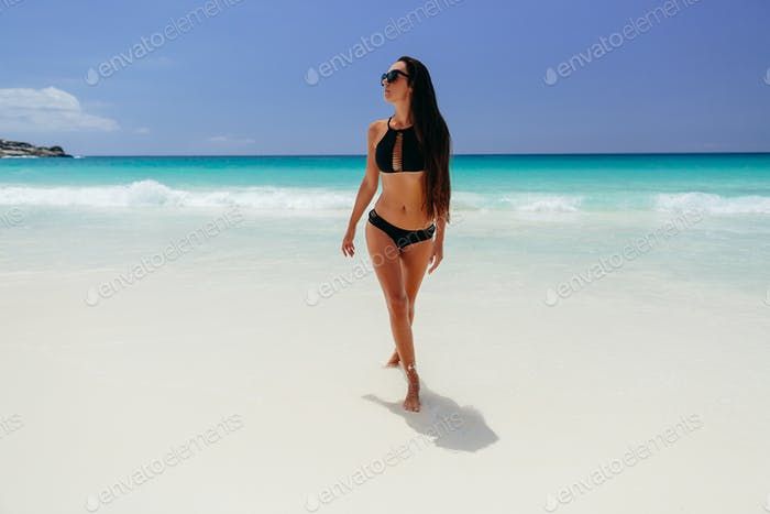 woman relax on beach vacation of tropical island