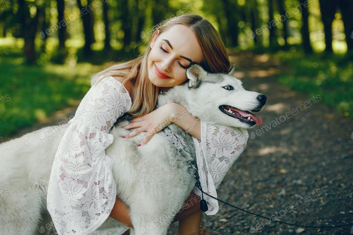 elegant girl with cute dog