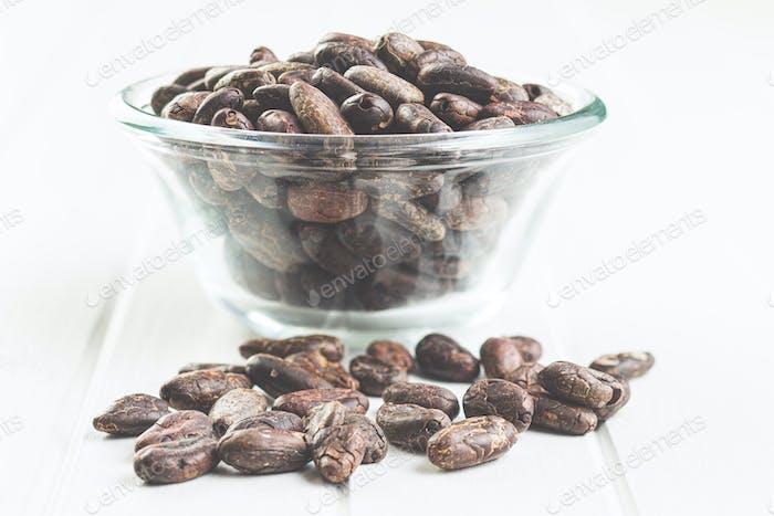 Dark cocoa beans.