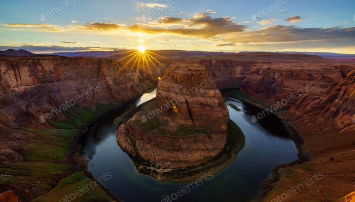 Horseshoe Bend at sunset, Arizona, USA