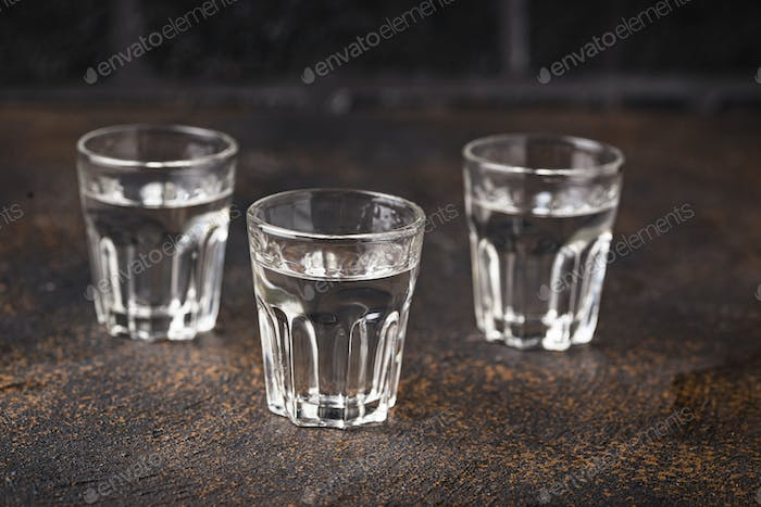 Glasses of Russian drink vodka