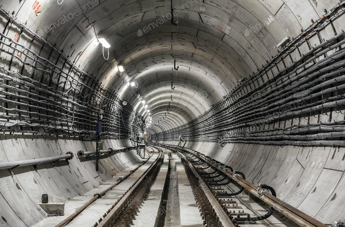 An empty subway tunnel