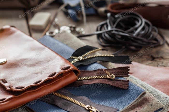 Bags leather on floor